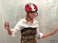 Hot Girl With Bycicle Helmet Is Sitting In A Corner And Getting All Dirty And Wet Being Kicked With