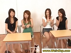 Four Kinky Japanese Schoolgirl Showing Assets