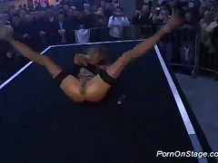 Porn On Stage With Sexy Stripper Toying Her Pussy Hard