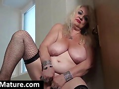 Sexy Blond Granny In Fishnets Shows Chubby Tits