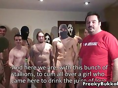 Filthy Spanish Whore Gets Groped By A Group Of Man For A Bukkake Gangbang By FreakyBukkake