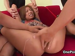 Two Men Pleasing This Horny Japanese Teen Girl Her Tight Pussy By OnePondo