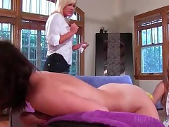 Two Lesbo Blondies Mouth Fucking A Strap-on