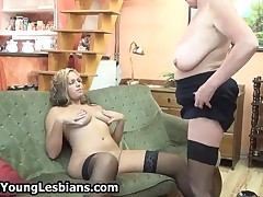 Blonde Mature Granny Loves Having Lesbian Sex And Licking Teen Pussy By OldNYoungLesbians
