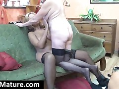 Stockinged MILF Gets Pussy Licked By A Lesbian Granny