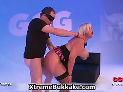 Thick Blonde Whore With Big Tits And Stockings In A Bukkake Gangbang By Xtremebukkake