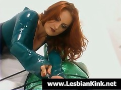 Lesbian Slave In Plastic Foil Gets Mouth Toyed