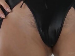 Tied Up Asian In Latex Gets Big Tits Licked