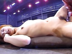 Busty Asian Redhead Gets Hairy Beaver Vibrated