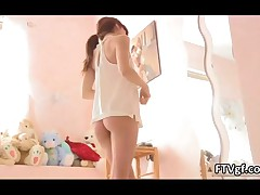 Petite Girl Sticks A Hanger In Her Tight Pink Pussy At Home By FTVgf