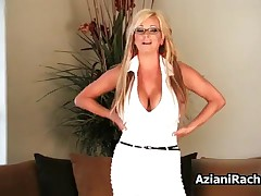 Rachel Aziani - Milf Blonde With Huge Tits Loves Riding Her Big Dildo With Her Tight Pussy By Aziani