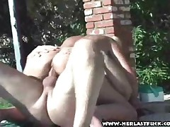 Grandmother Riding Cock In The Sunshine