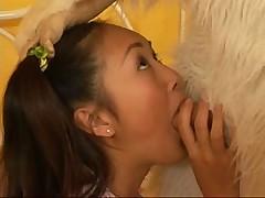 Furry dude fucks the beautiful Evelyn Lin