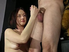 The brunette and her handjob action on display