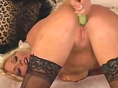 Horny blonde lingerie girl solo play