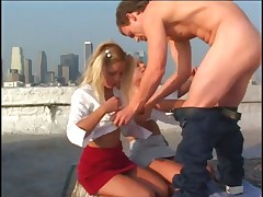 Horny Blonds Tarts Banged On Rooftop