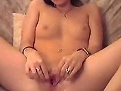 Tight girlfriend fingers her holes