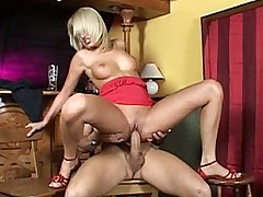 Cute European barmaid fucking and swallowing