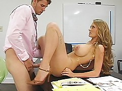Long haired blonde secretary gets it on a desk