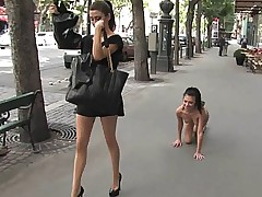 European girl enslaved in public