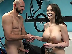 Babe with huge perfectly shaped tits fucking for money