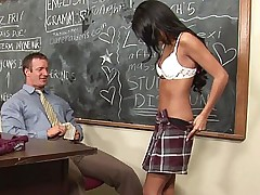 Cute student got on her knees