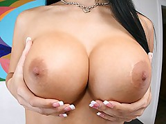 Mikayla getting her tits oiled and pussy pounded