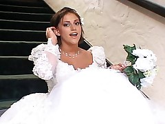 Beautiful bride in threesome sex