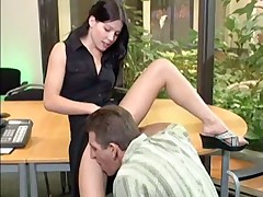 Hot brunette ass fucked by crooked cock