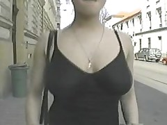 Chick gets gangbanged then walks on the streets with cum
