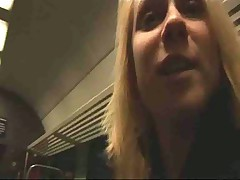 Blonde masturbating and fucking on train