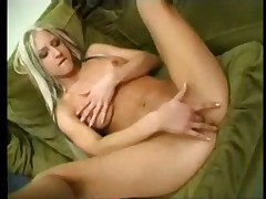 Sarah fucks herself with dildos