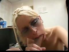 Yellow-haired Cum Guzzler Receives A Facial Cumshot