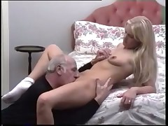 Young blonde takes a still pumping old cock
