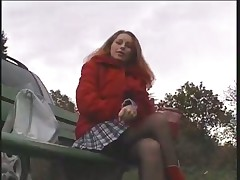 Redhead Foreign Student Playing with Pussy