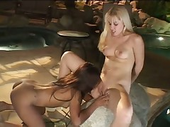 Lesbian Group sex by the Pool at Night