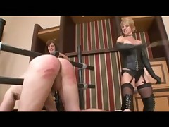 Two leather dommes in boots and stockings cane guy
