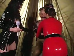 Three lesbians in latex