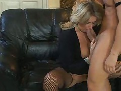 Blonde Milf in Fishnet Stockings