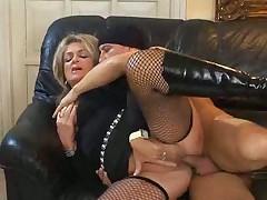 Blonde Milf in Fishnet Stockings