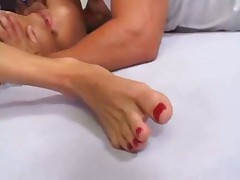Blonde works with feet