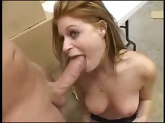 Redhead Scarlet gets her throat pounded