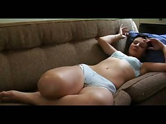 Teen solo on sofa wanking