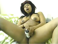 Young black girl plays on cam