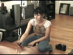 Face sitting girl gives his cock paain