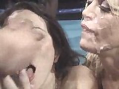 Two Chicks Get Bukkake In The Ring