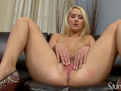 Hardcore beauty Blonde Cat is taking off her panties