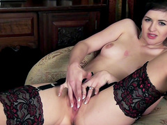 Glamorous lady is masturbating her accurate puss