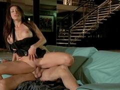 Cute looking brunette Kaylynn is sucking cock