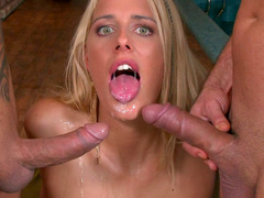 Blonde and two hard dicks are having threesome